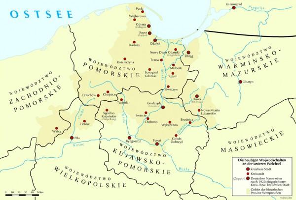 Die heutigen Woiwodschaften an der unteren Weichsel