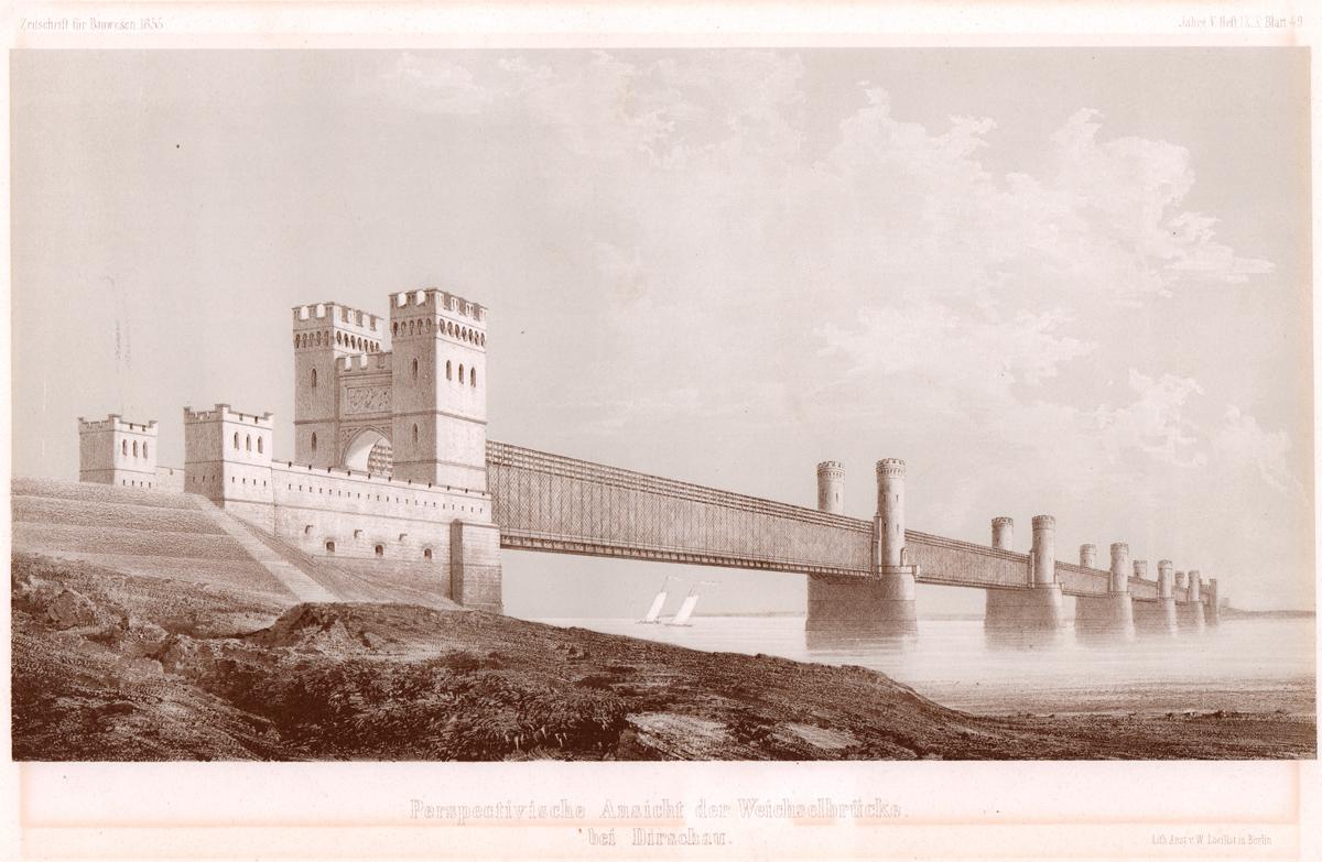 Weichselbrücke bei Dirschau, Zeitschrift für Bauwesen 1855