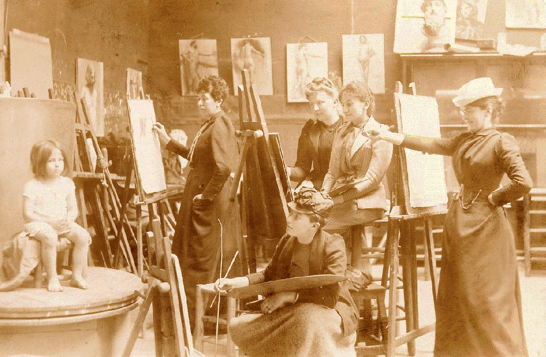 Académie Colarossi (re. Ida Gerhardi), Paris, um 1896; Foto: Privatbesitz