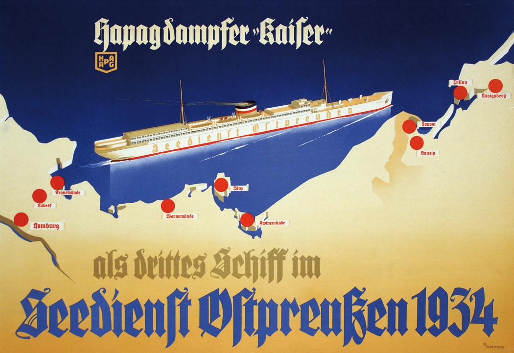 Mit den Schiffen des Seedienstes Ostpreußen wurden Mitte 1920 über 160.000 Abstimmungsberechtigte nach Ost- und Westpreußen gebracht. Farblithographie, 1934.
