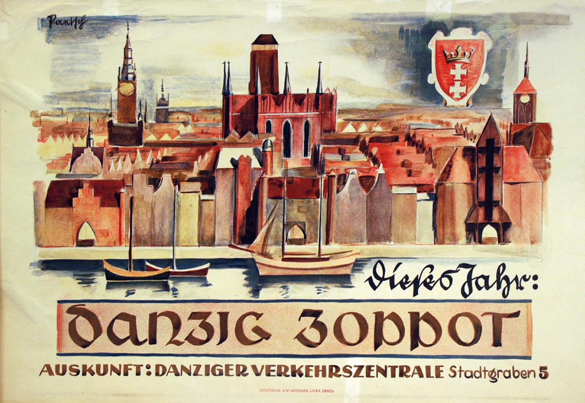 """Plakat """"Dieses Jahr Danzig Zoppot"""". Farbdruck von Bruno Paetsch, Danzig o. J. (1930er Jahre)."""